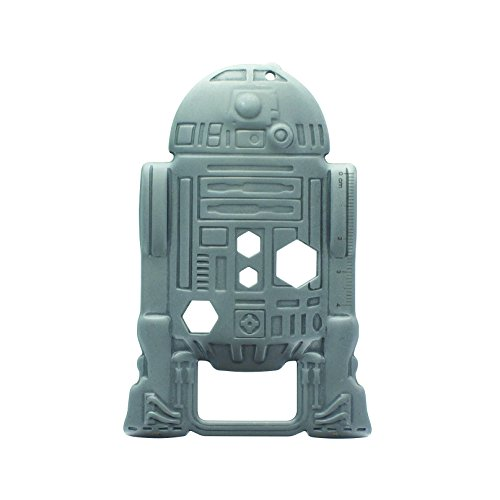 Paladone Star Wars Multi Tool R2-D2 silberfarben, aus Metall, auf Blistercard.