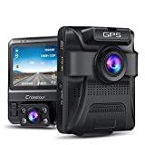 Dash Cam - GPS Dual Car Camera Uber Crosstour 1080P Front and 720P Inside DVR Recorder with 2.4' Screen IR Super Night Vision Parking Mode Motion Detection and G-Sensor