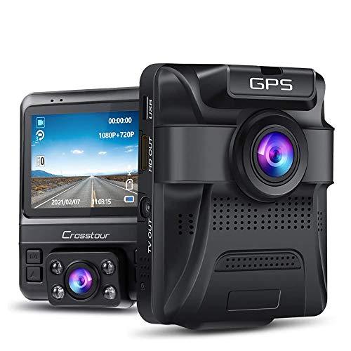 Dash Cam - GPS Dual Car Camera Uber Crosstour 1080P Front and 720P Inside DVR Recorder with 2.4