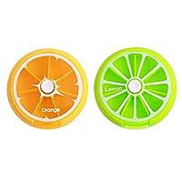 薬ケース 小さな薬箱 薬ケース 2個入りポータブルピルケース 毎週 毎日のプランナー 丸型ピルケース ビタミン魚油サプリメント用の簡単なプッシュボタン(Color:E)
