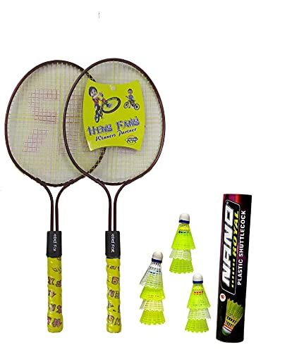 Badminton Racket Heng Fang Baby for Kids Set of 2 Piece - 1 Pair with 10 Piece Nano Plastic Cock 1 Box, Racket Colour May Vary