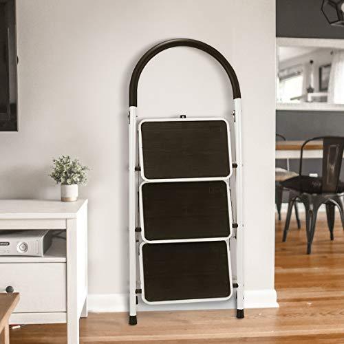KingSo 3 Step Ladder Folding Step Stool with Steel Wide Anti-Slip Pedal and Handgrip Anti-Slip, Lightweight 350lbs Portable Steel Step Stool, (350lbs Capacity)