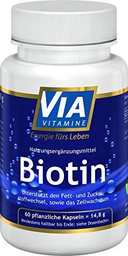 Biotin 500 mcg, für Haut und Haare, hochdosiert, ohne Zusatzstoffe, in Deutschland hergestellt, 60 vegane Kapseln