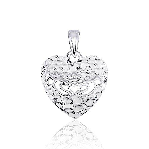 WithLoveSilver Colgante de plata de ley 925 maciza, 1 micrón, chapado en rodio, Claddagh abierto sobre corazón martillado