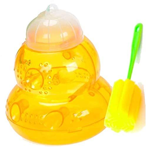 Homo Trends Piège à guêpes avec 1 brosse de nettoyage éponge pour frelons, vestes jaunes, attrape-abeilles en plastique non toxique, réutilisable à suspendre ou à poser sur une table