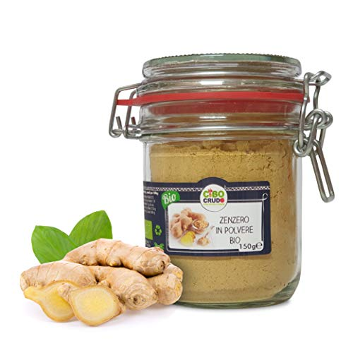 Cibocrudo Zenzero in Polvere Crudo Bio Puro, Organic Ginger Powder Raw, Polvere di Zenzero per la Preparazione di Tisane, in Barattolo di Vetro con Chiusura Ermetica – 150 gr