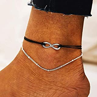 Fstrend Boho Layered Anklets Bracelet Infinity Beaded Sandbeach Party Woven Foot Chain Jewelry for Women and Girls