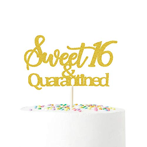 Sweet 16 Cake topper,16th Birthday Cake Topper,Sweet 16 & Quarantined Birthday Cake Topper,16th Birthday Decorations (Rose gold/gold/Pink)