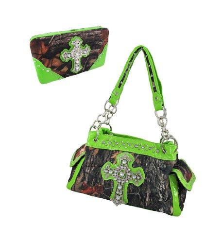 Deep Forest Camouflage Rhinestone Cross Purse/Wallet Set Lime Green Trim