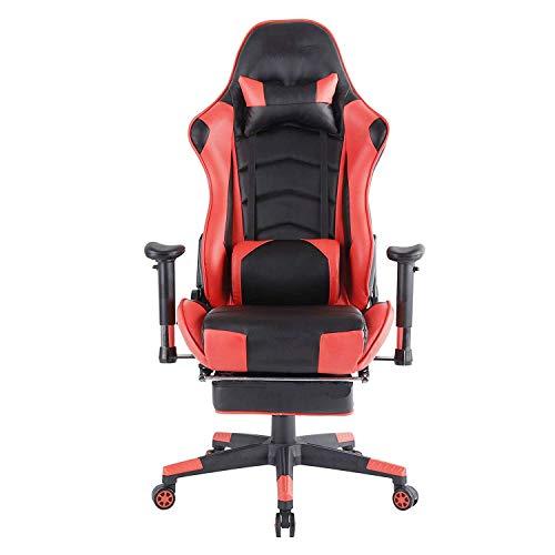 ZLININ Y-longhair Silla ergonómica para videojuegos, silla de oficina de alta rotación, reposapiés con reposacabezas ajustable y soporte de cintura, silla de carreras reclinable para juegos