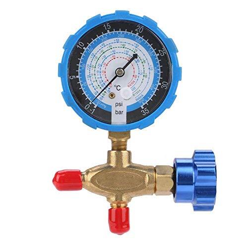 Manómetro de presión del colector, manómetro y válvula del colector de aire acondicionado, 500 psi, 35 kgf/cm², apto para refrigerantes R404a R22 R410 R134A