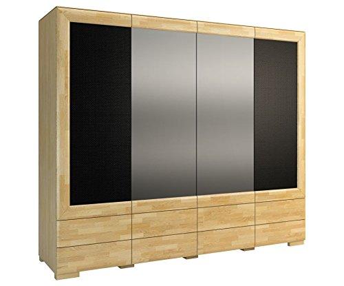 """Preisvergleich Produktbild Drehtürenschrank / Kleiderschrank """"Lipik"""" 42,  Farbe: Eiche / Schwarz,  teilmassiv - Abmessungen: 242 x 204 x 61 cm (B x H x T)"""