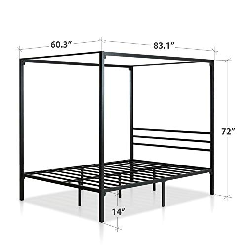 Zinus Patricia Metal Framed Canopy Four Poster Platform Bed Frame / Strong Steel Mattress Support / No Box Spring Needed, Queen