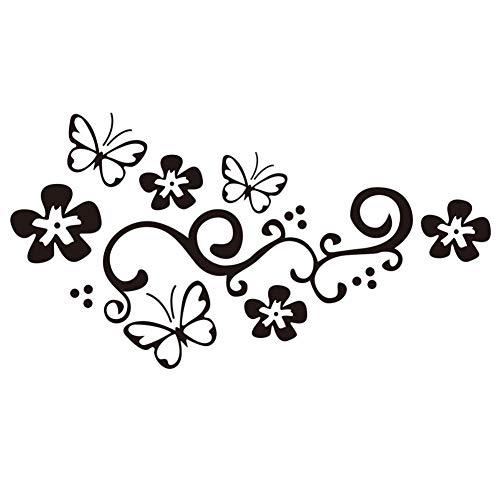 Etiqueta engomada de la mariposa vid de la flor de la etiqueta...