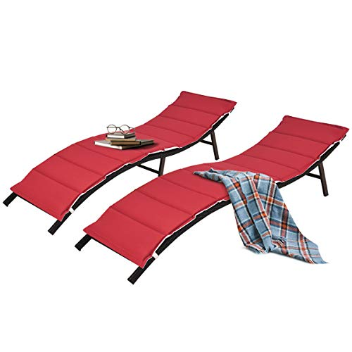 Tangkula 2 Pieces Patio Rattan Chaise Lounge, Outdoor Wicker Lounge Chair, Foldable Chaise Lounge, Suitable for Poolside, Garden, Balcony
