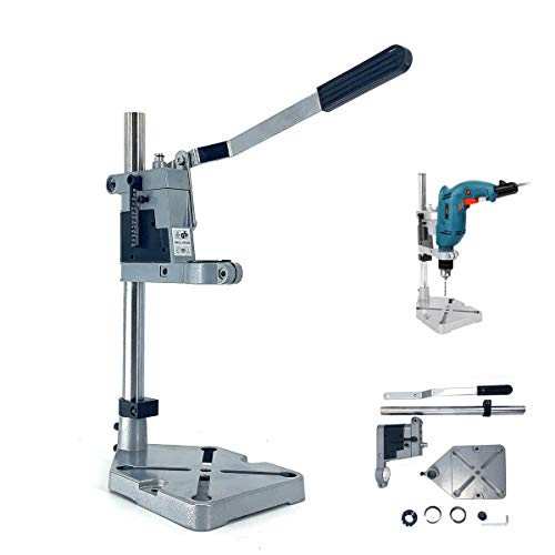NICCOO Drill Press Stand For Hand Drill,Adjustable Universal Bench Clamp Drill Press Floor Stand Workbench Repair Tool for Drilling Collet Workshop,Single Hole Aluminum base
