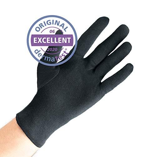 Dermatest: Sehr Gut - Well B4® Care Baumwollhandschuhe, Zwirnhandschuhe aus 100% Baumwolle, Weiche Trikothandschuhe, 3 Paar, schwarz (XL, Schwarz)