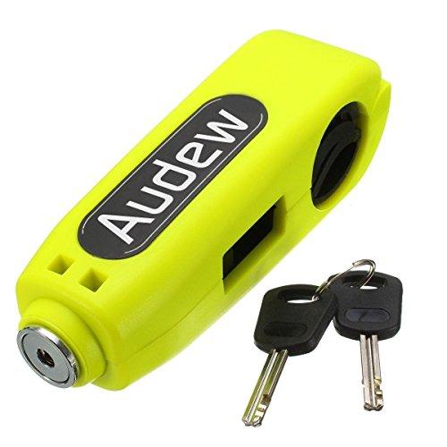 Audew Motorcycle/Scooter/ATV/Handlebar Grip Lock,Anti-theft Brake Lever Security Lock, Throttle Grip Lock Yellow