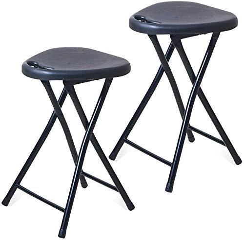 Tumbonas Conjunto de 2 Taburete plegable Silla portátil de plástico, 18' , con las piernas marco de acero durable, de carga: 220 libras, blanco / negro, dormitorio, Cuarto de recreo o de la silla Sala