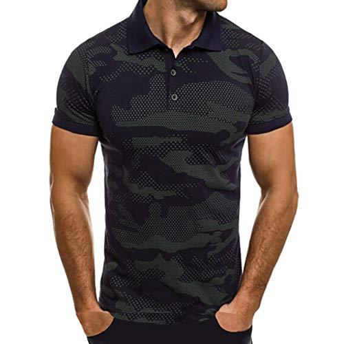 Camisas Hombre Manga Corta 2019 Moda SHOBDW Verano Cuello Mao Blusa Casual Estampado de Camuflaje Camisetas Hombre Basicas Slim Fit XXL