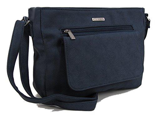 STEFANO Moderne Damen Umhängetasche Schultertasche Frauen Handtasche Soft PU Verschiedene Modelle (M3 - Blau)