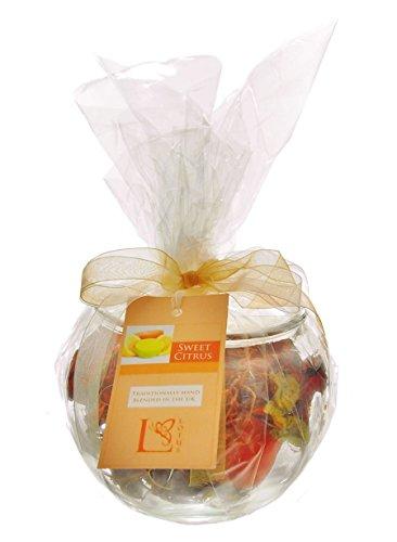 Homestreet Vaso in vetro con potpourri, completo regalo o decorazione per la casa, avvolto in cellophane con un nastro, 11 scelte di colore/fragranza da (CITRUS)