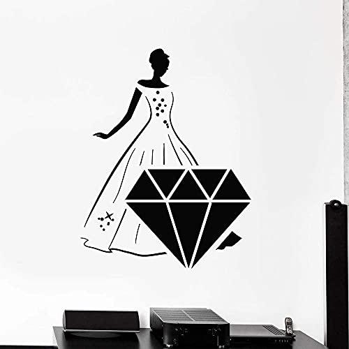 Belle robe fille stickers muraux joli diamant pierres précieuses vinyle autocollants le centre commercial bijouterie décor intérieur papier peint 107x84cm