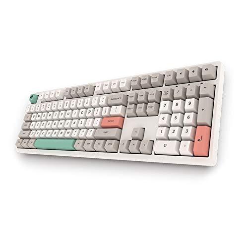 YWF Keycaps 3108 V2-9009 Teclado mecánico con Cable Retro 108 Tecla PBT KeyCap Todo el Interruptor de Cereza Anti-ghosting para la Oficina en casa Teclado de hotswap (Axis Body : Brown Switch)