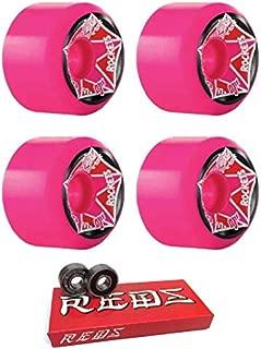 OJ Wheels 61mm Christian Hosoi Rocket Pink Re-Issue Skateboard Wheels - 97a with Bones Bearings - 8mm Bones Super Reds Skate Rated Skateboard Bearings (8) Pack - Bundle of 2 Items