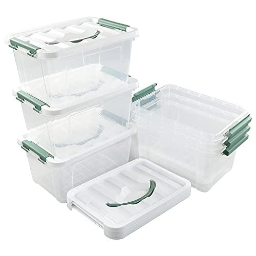Callyne Set di 6 scatole portaoggetti in plastica trasparente, 5,5 L
