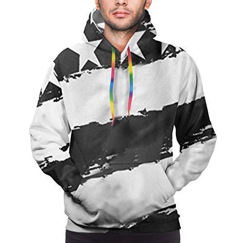 Hangdachang Black USA Flag Youth 3D Printed Hooide Sweatshirt with Pocket L
