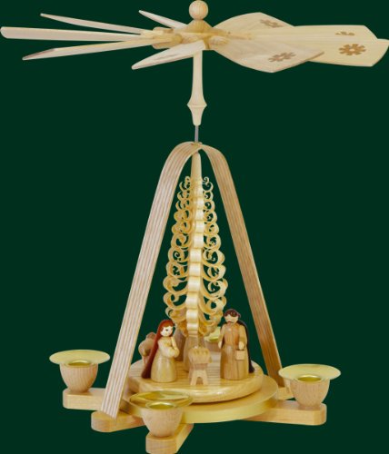 German Christmas Pyramid with Holy Family Nativity Scene Handcrafted in Germany