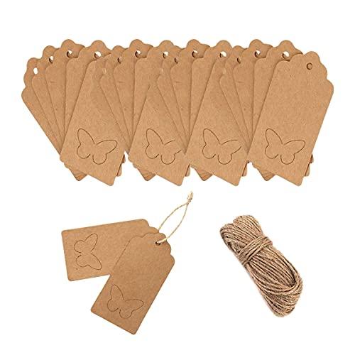 Etiquetas de regalo de papel kraft, 100 etiquetas de papel kraft y cordel de yute...