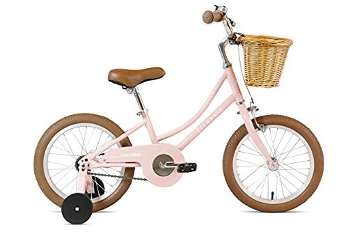 FabricBike Kids - Bicicleta con Pedales para niño y niña, Ruedines de Entrenamiento Desmontables, Frenos, Ruedas 12 y 16 Pulgadas, 4 Colores (Classic Pink, 16': 3-7 Años (Estatura 96cm - 120cm)