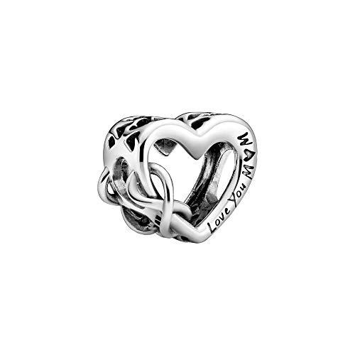 Pandora Colgante de corazón con símbolo de infinito y texto en inglés 'Love You Mum', plateado, 1,14 cm, 798825C00