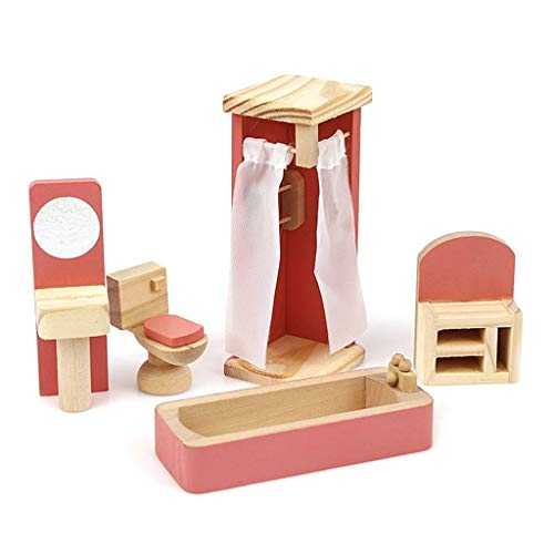 junengSO Baby Doll, 1/12 Mini Dollhouse Miniature Wooden Furniture 6 Kitchen Bedroom Living Room Bathroom Set Kids Pretend Play Toy