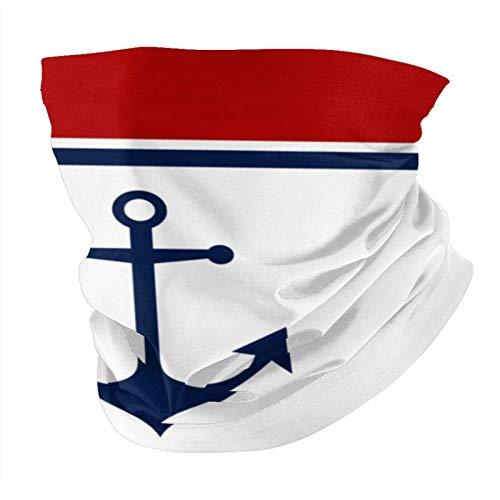 Decams Bandana máscara facial ancla azul rojo náutico y blanco pasamontañas al aire libre a prueba de polvo resistente al viento multifuncional pañuelo para la cabeza para hombres y mujeres