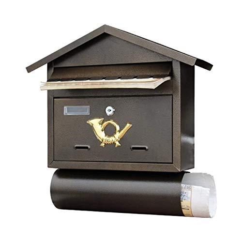 ZZYE Wandmontierter wasserdichter Postfach mit transparenter Abdeckung, Metallpostfächer mit Stabiler Schlüsselsperre, Zeitungspapierhalter, Briefkasten