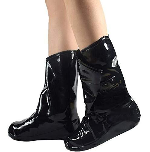Femmes réutilisables Chaussures de Pluie Couvre imperméable Anti-dérapage Porter des Chaussures de Plein air Couvre pour Ugg pour Appartements pour Talons Hauts 4 Couleurs Black M