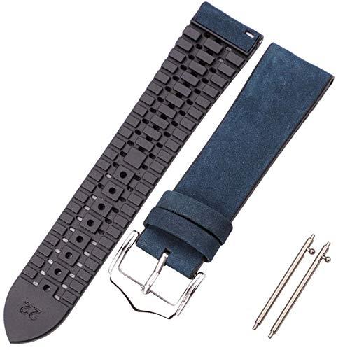 CGGA Pulsera de Correa de Reloj de Cuero de Vaca y Silicona 18 20 22mm Hombres Mujeres Impermeable Transpirable Relojes de Relojes Relojes Accesorios de Reloj (Band Color : Blue, Band Width : 20mm)