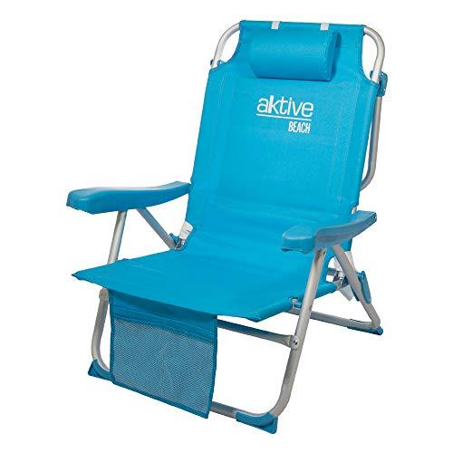 Aktive 53983 Silla mochila plegable aluminio para la playa. 5 posiciones, Multicolor, 64 x 63 x 82 cm