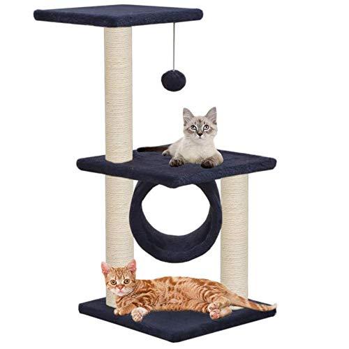 Kattenboom met krabpaal van sisal 65 cm Cat Scratchers Centro Giochi Multiliv-Stra voor katten volledig functioneel voor het huis Multi-Gatti
