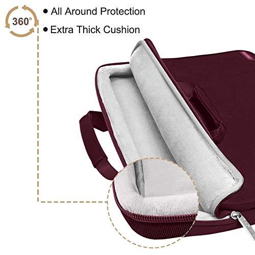 MOSISO Laptop Hülle Tasche Kompatibel mit MacBook Pro 16 Zoll, 15 15,4 15,6 Zoll Dell Lenovo HP Asus Acer Samsung Chromebook,360 Schutz Wasserabweisende Schultertasche mit Trolley Gürtel, Weinrot
