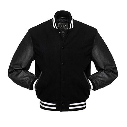 Varsity jacket | Baseball jacket Men | Leterman jacket Men | Men's Leather Jacket | Bomber jacket (Black, XS) (xs, jet black) (BLACK WITH WHITE STRIPS, xl)
