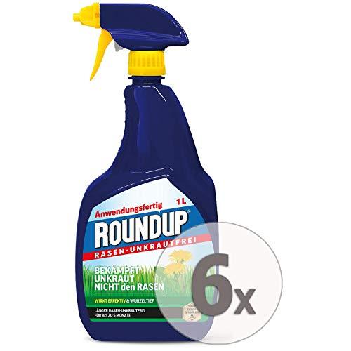 Roundup Rasen-Unkrautfrei AF Anwendungsfertig Unkrautvernichter Sparpaket, 6 x 1 Liter + Zeckenzange mit Lupe