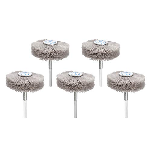 uxcell Abrasive Nylon Wheels Brush 320 Grits with 1/4 Inch Shank for Polish Grinder 5pcs