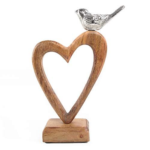 Logbuch-Verlag Corazón de madera con pájaro, marrón y plateado, corazón decorativo para colocar de pie, 22 cm como regalo, símbolo de amor, amistad