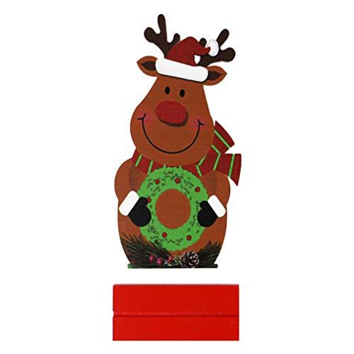 PRETYZOOM Weihnachten Holzfigur Hirsch Desktop Ornament Weihnachten Dekoration Cartoon Spielzeug Handwerk Dekor Vitrine für Büro Home Store