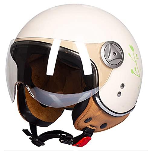 Casco clásico clásico de cara abierta para hombres y mujeres, cuatro estaciones ligero, estilo jet retro 3/4, medio casco para moto Cruiser ciclomotor, aprobado por DOT