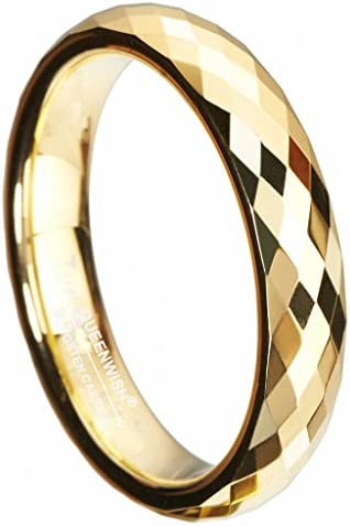 Queenwish 4mm Gold Plated Tungsten Wedding Bands Multi Faceted Prism Cut Engagement Ring Size product image